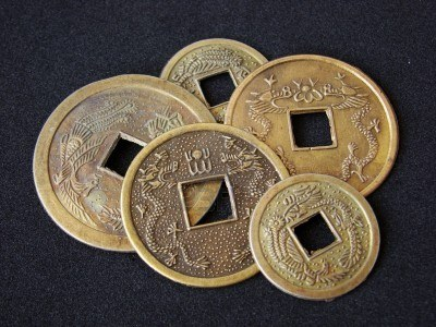 Monedas chinas de la buena suerte